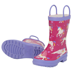 Unicorns & Rainbows on Pink Pull On Kids Rainboots Gumboots By Hatley