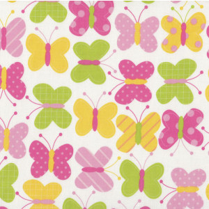 Butterflies Pink Yellow Urban Zoologie Quilt Fabric