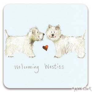 Westies Cork Backed Drink Coaster By Alex Clark