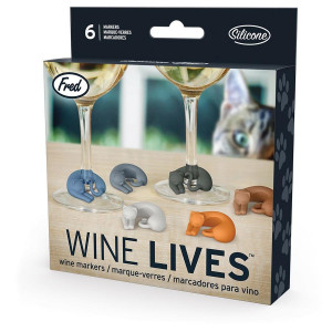 Wine Glass Markers Set of 6 Wine Lives Cat Kitty Kitten by Fred