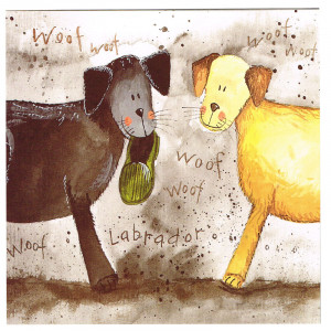 Woof Woof Labrador Shoe Thief Dogs Greeting Card