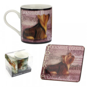 Yorkshire Terrier Dog Mug and Coaster Set