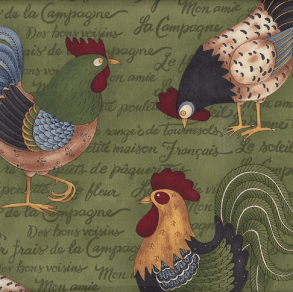 Debbie Mumm Roosters Chickens Quilting Fabric