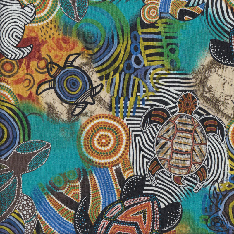 AUSTRALIAN ABORIGINAL QUILTING FABRIC DREAMTIME FLOWERS BLACK by FQ and METRE